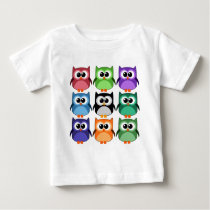 Cute! - Rainbow of Colorful Owls Baby T-Shirt
