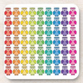 Cute Rainbow Owl Pattern Beverage Coaster