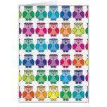 Cute Rainbow Owl Pattern Card