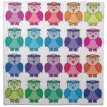 Cute Rainbow Owl Pattern Cloth Napkins