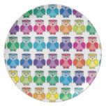 Cute Rainbow Owl Pattern Dinner Plate