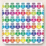 Cute Rainbow Owl Pattern Drink Coasters