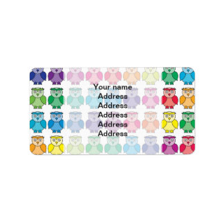 Cute Rainbow Owl Pattern Address Label
