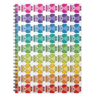 Cute Rainbow Owl Pattern Notebook