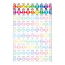 Cute Rainbow Owl Pattern Stationery