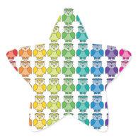 Cute Rainbow Owl Pattern Sticker