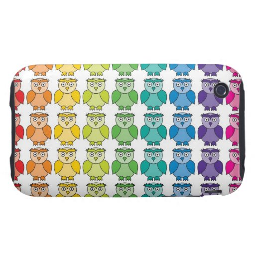 Cute Rainbow Owl Pattern Tough iPhone 3 Case