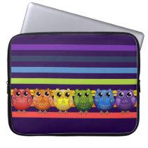 Cute Rainbow Owls and Stripes Laptop Sleeve