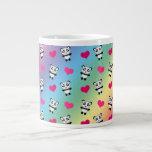 Cute rainbow panda hearts pattern jumbo mugs