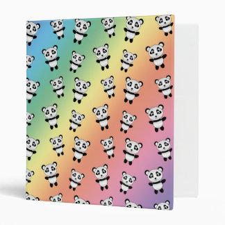 Cute rainbow panda pattern 3 ring binders