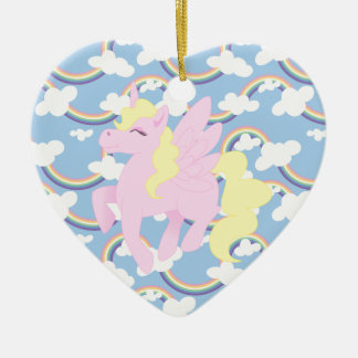 Cute Rainbow Pattern with Pink Unicorn Pegasus Ceramic Ornament