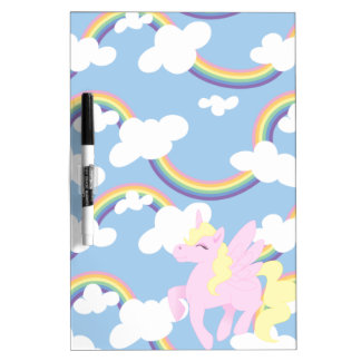 Cute Rainbow Pattern with Pink Unicorn Pegasus Dry Erase Board