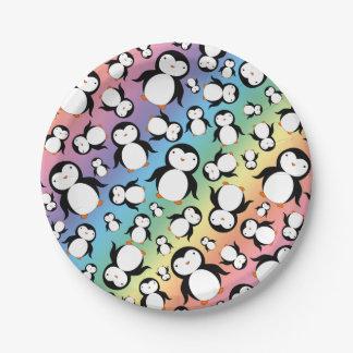 Cute rainbow penguin pattern 7 inch paper plate