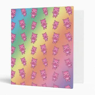 Cute rainbow pig pattern 3 ring binder