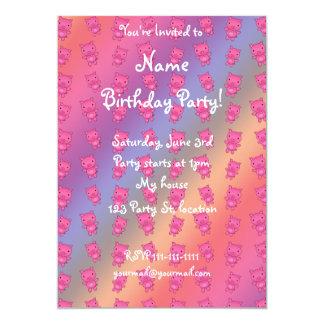 Cute rainbow pig pattern 5x7 paper invitation card