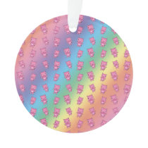 Cute rainbow pig pattern ornament