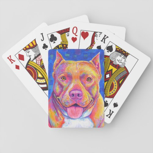 Cute Rainbow Pitbull Terrier Dog Playing Cards