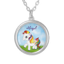 Cute Rainbow Pony Personalized Horse Necklace