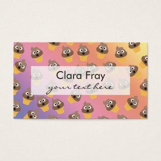 Cute Rainbow Poop Emoji Ice Cream Cone Pattern Business Card