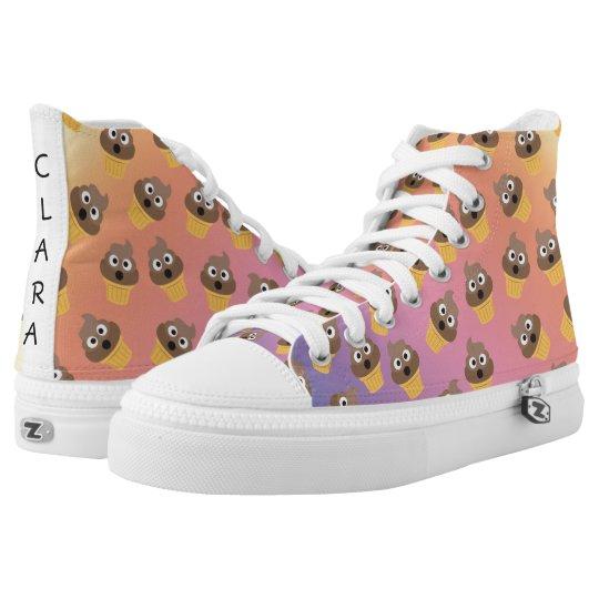 Cute Rainbow Poop Emoji Ice Cream Cone Pattern High Top Sneakers