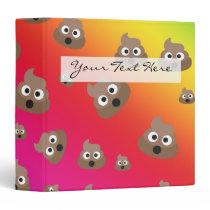Cute Rainbow Poop Emoji Pattern 3 Ring Binder