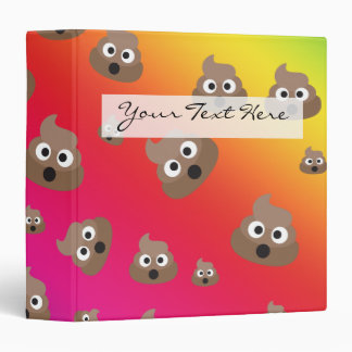 Cute Rainbow Poop Emoji Pattern 3 Ring Binder