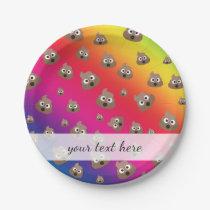 Cute Rainbow Poop Emoji Pattern Paper Plate