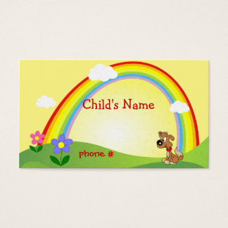 Cute Rainbow & Puppy Children's Calling Card