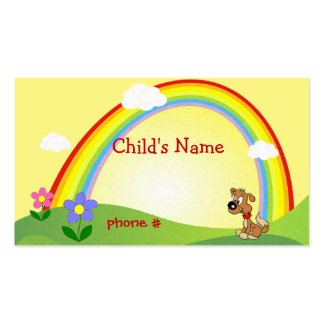 Cute Rainbow & Puppy Children's Calling Card Double-Sided Standard Business Cards (Pack Of 100)