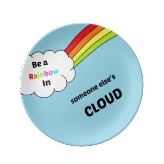cute_rainbow_quote porcelain plate