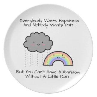 Cute Rainbow Rain Cloud Happiness Quote Plate