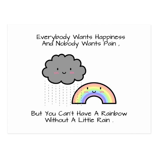 Cute Rainy Day Quotes: Cute Rainbow Rain Cloud Happiness Quote Postcard