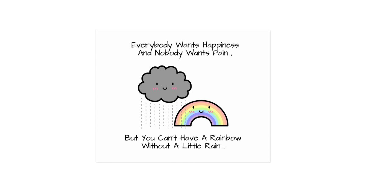 Cloud Quotes Classy Cute Rainbow Rain Cloud Happiness Quote Postcard  Zazzle