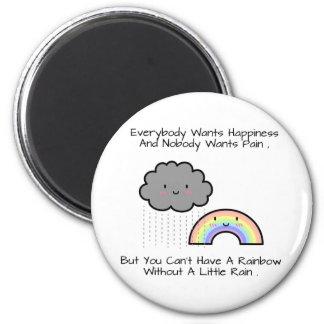 Cute Rainbow Rain Happiness Quote Magnet