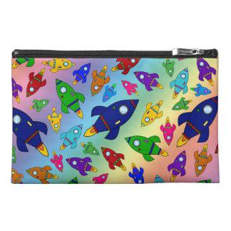 Cute rainbow rocket ships pattern travel accessories bag