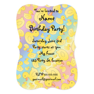 Cute rainbow rubber ducks 5x7 paper invitation card