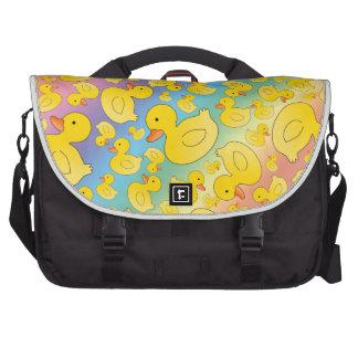 Cute rainbow rubber ducks laptop messenger bag