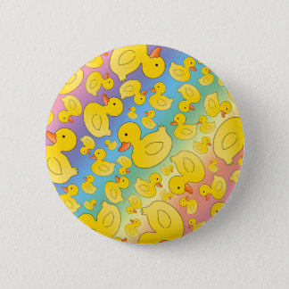Cute rainbow rubber ducks pinback button