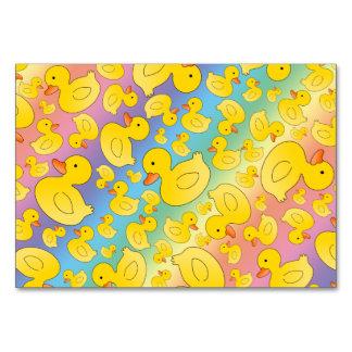 Cute rainbow rubber ducks table cards