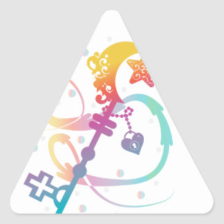 Cute Rainbow Silhouette Heart Moon Key With Locket Triangle Sticker
