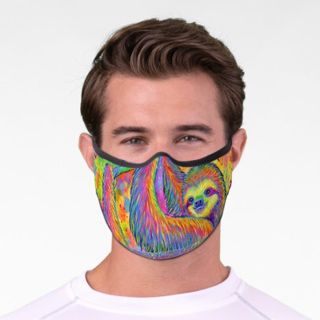 Cute Rainbow Sloth Premium Face Mask