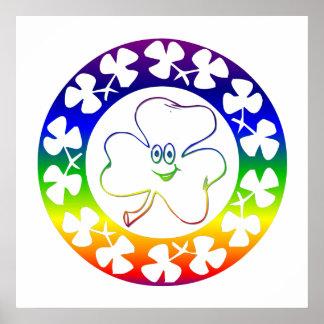 Cute Rainbow Smiling Irish Shamrock Poster