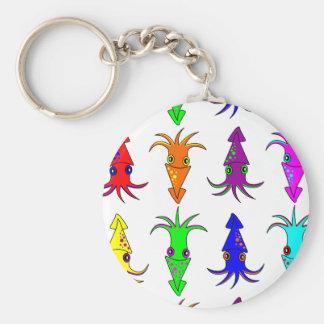 Cute Rainbow Squid Basic Round Button Keychain