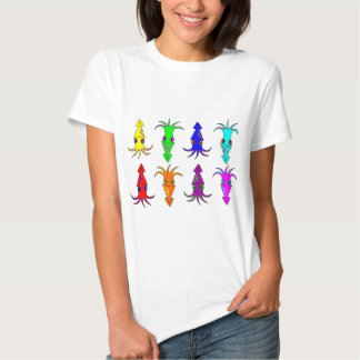Cute Rainbow Squid Tee Shirts