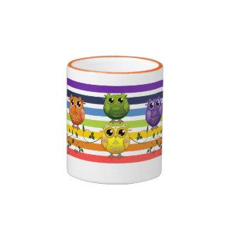 Cute Rainbow Stripes and Owls Mug
