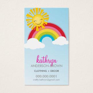 CUTE RAINBOW + SUN LOGO colorful bright bold sky Business Card