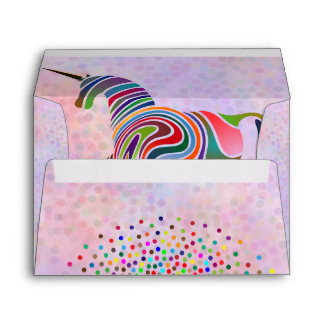 Cute Rainbow Unicorn and Confetti Pink  Birthday Envelope
