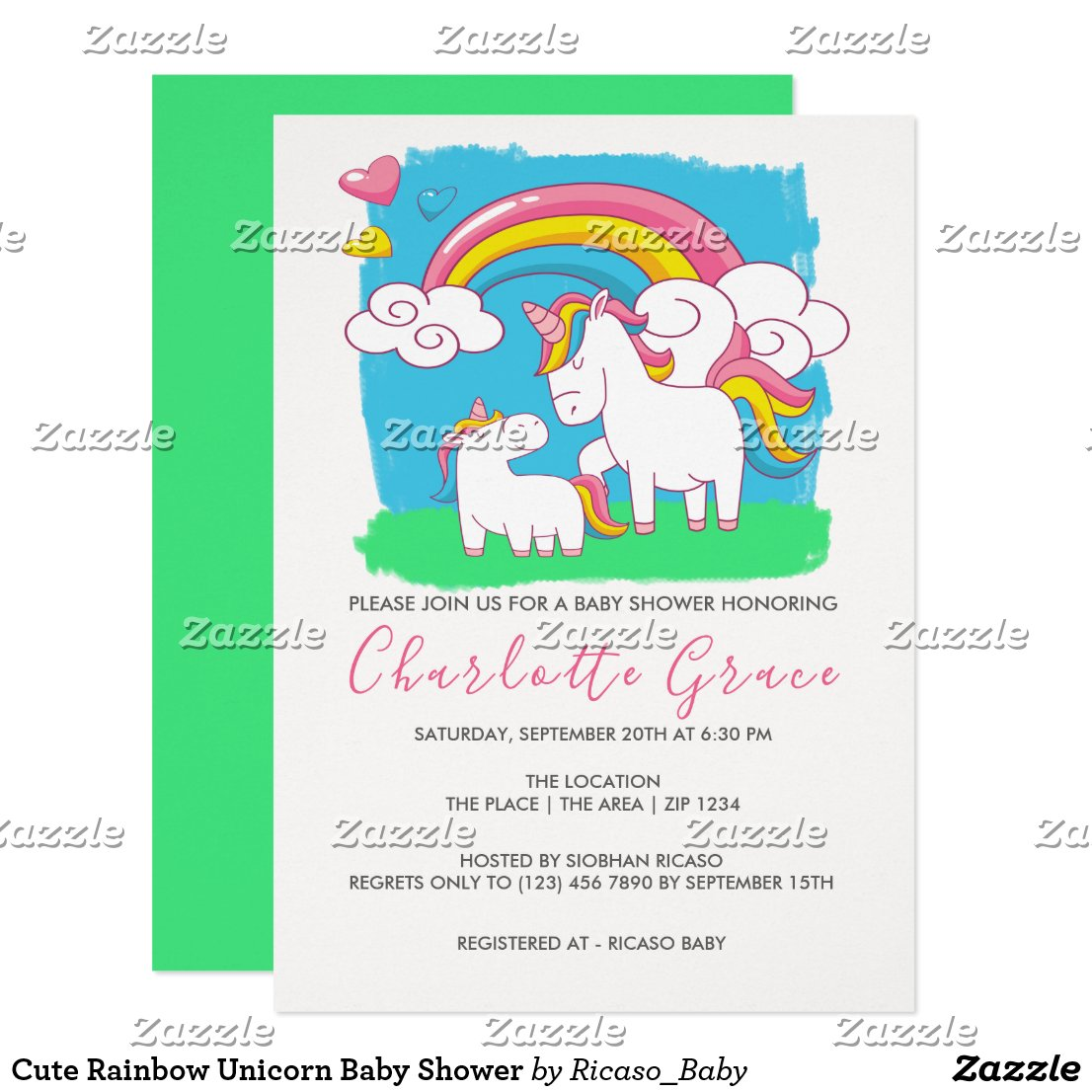 Cute Rainbow Unicorn Baby Shower Invitation