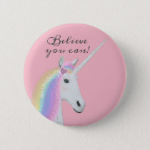 Cute Rainbow Unicorn Believe Pink Round Button