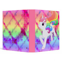 Cute Rainbow Unicorn Binder